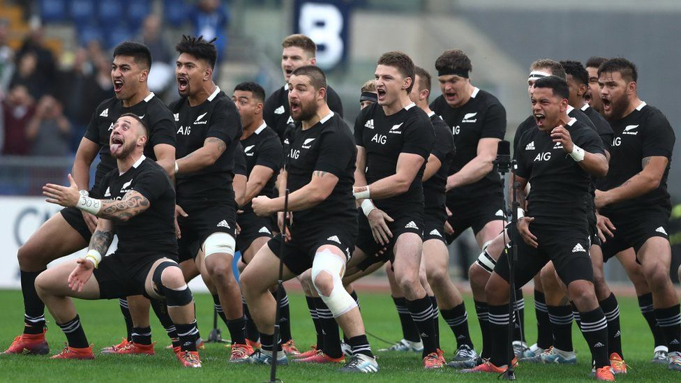 All Blacks performing the Haka