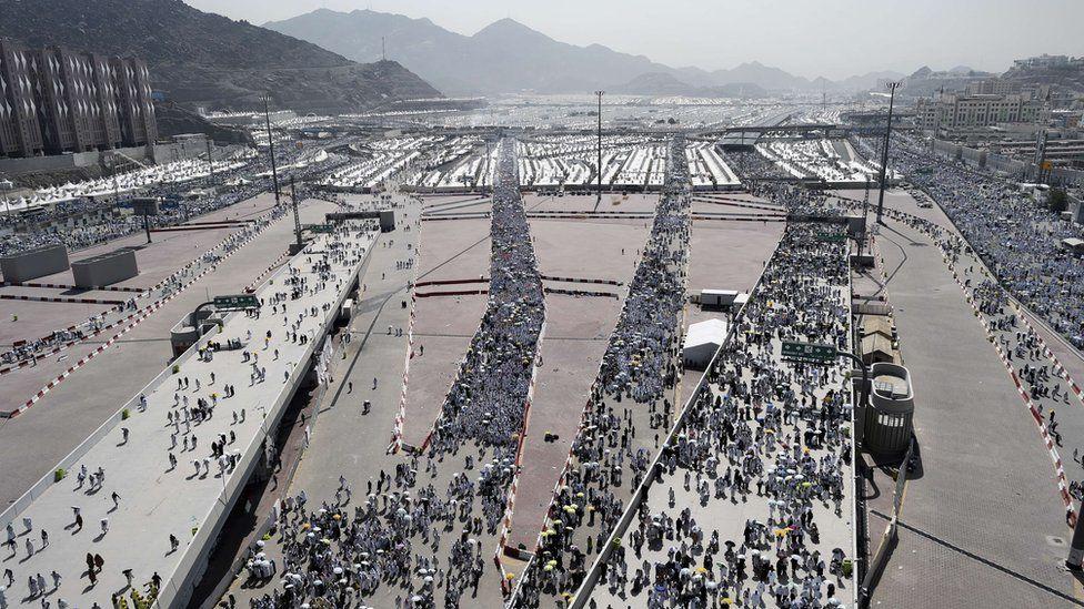 Pilgrims travel to Mina during the Hajj to throw seven stones at pillars called Jamarat
