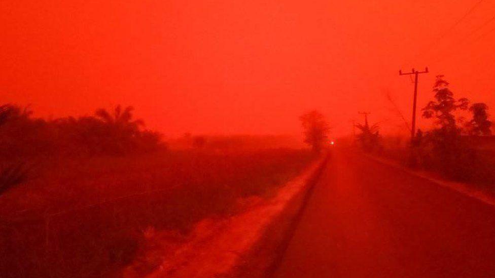 Queimadas deixam céu vermelho na Indonésia: 'Isso não é Marte, é a Província de Jambi'