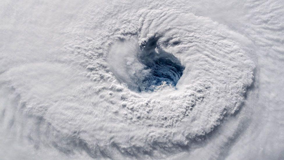 Satellite image of the eye of Hurricane Florence