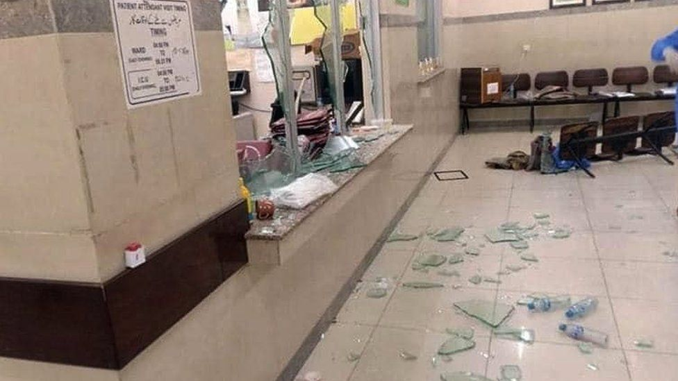 The hospital after it was attacked