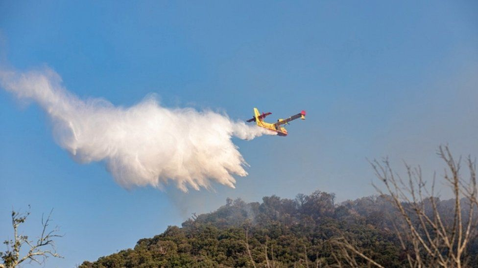 A Canadair aircraft drops water on a major wildfire that broke out in the Var region of southern France