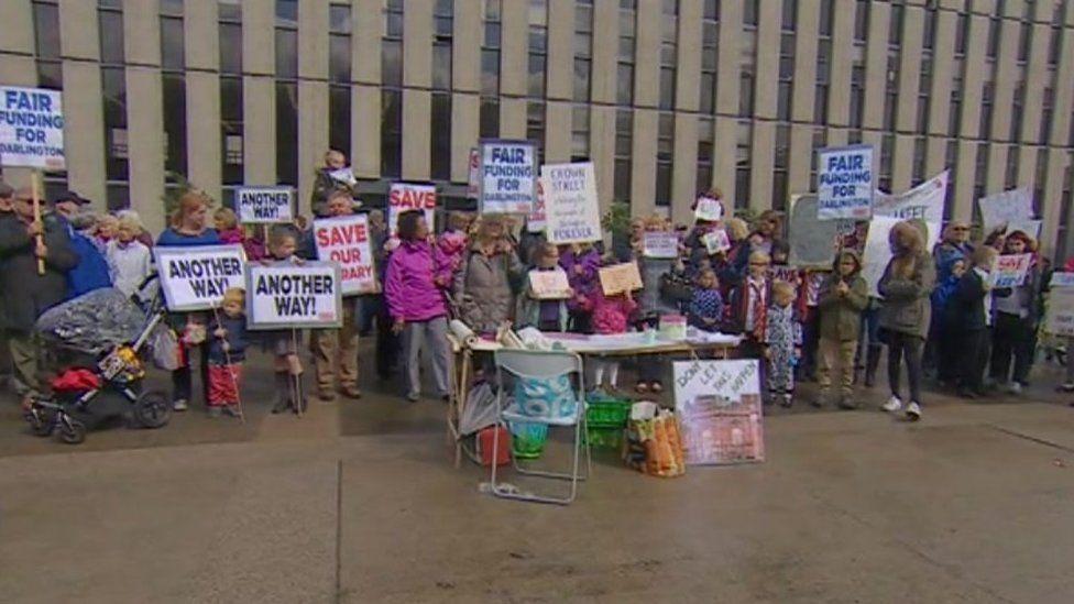 Protest over Darlington cuts