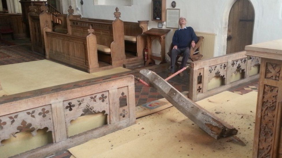 Norfolk church roof collapse blamed on deathwatch beetle
