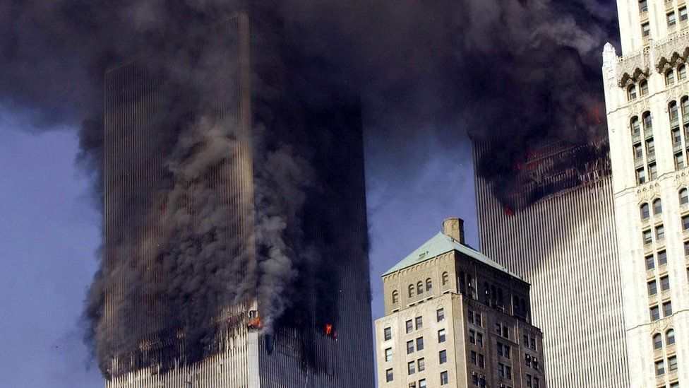 Twin Towers in New York burning during 9/11