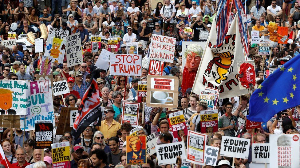 Protesters in London against Donald Trump visit