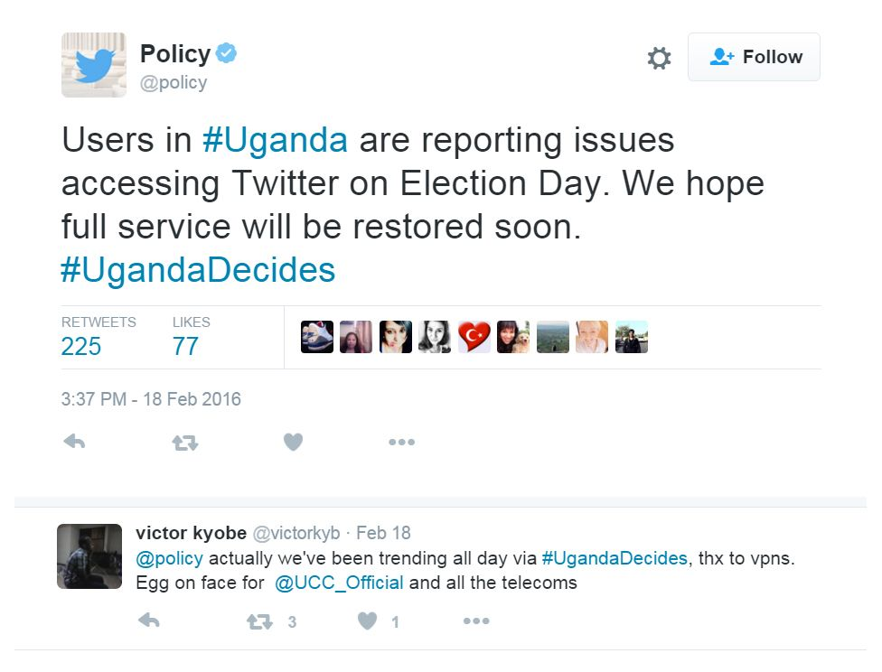 """""""Users in#Uganda are reporting issues accessing Twitter on Election Day. We hope full service will be restored soon. #UgandaDecides"""""""