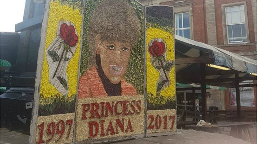The well dressing of Princess Diana in Chesterfield Market Place