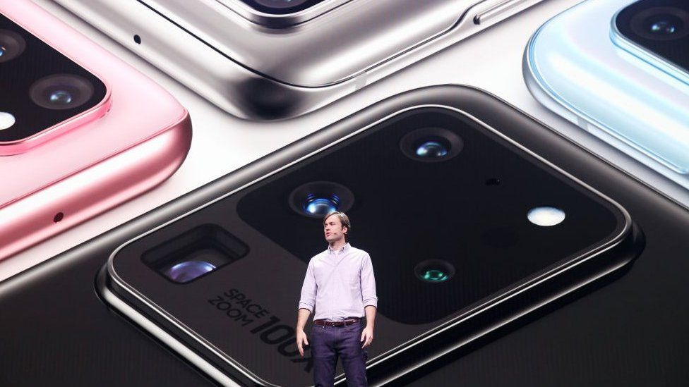 Samsung Head of US Mobile Product Management Drew Blackard speaks at Samsung's Galaxy UNPACKED in February 2020.