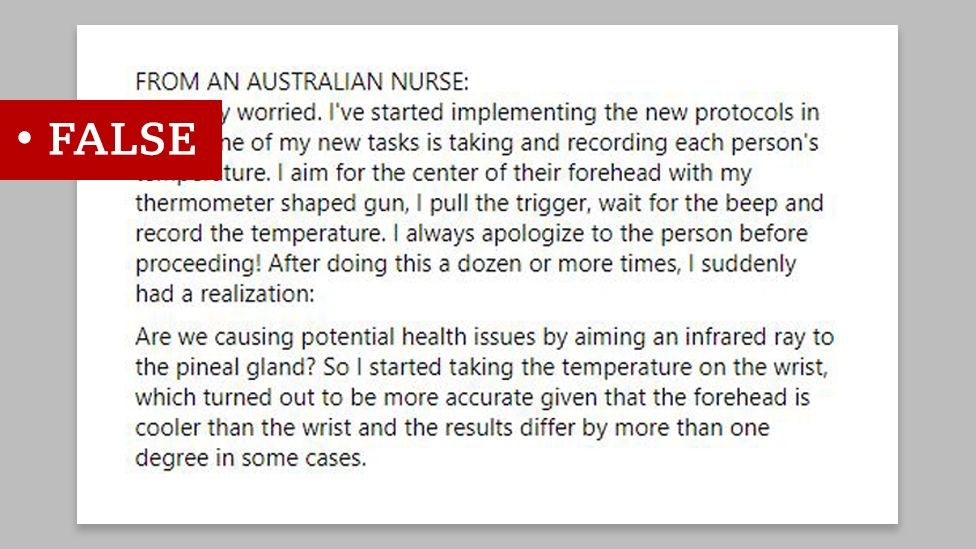 """Screenshot of a message from an unnamed """"Australian nurse"""" we labelled """"false"""". The message claims """"Are we causing potential health issues by aiming an infrared gun at the pineal gland."""""""