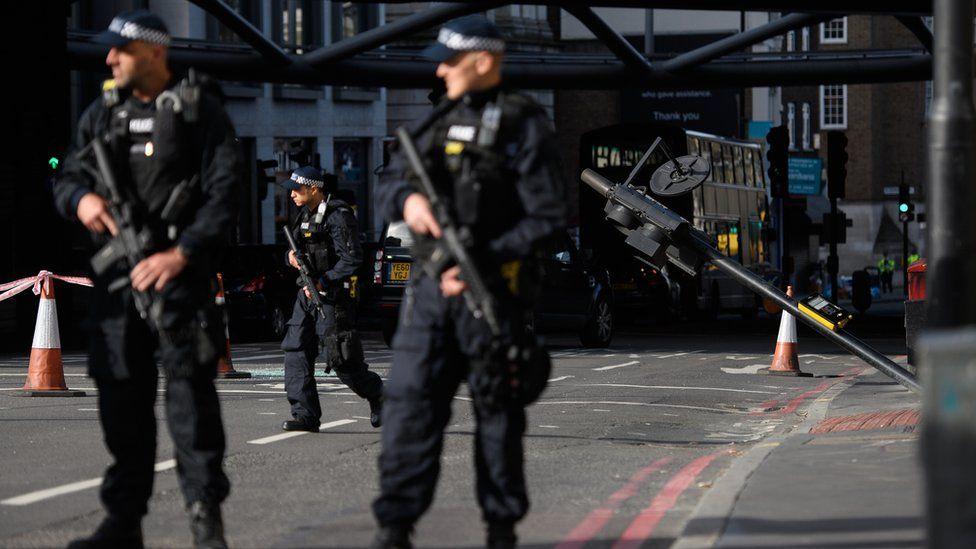 Armed police at scene of attack