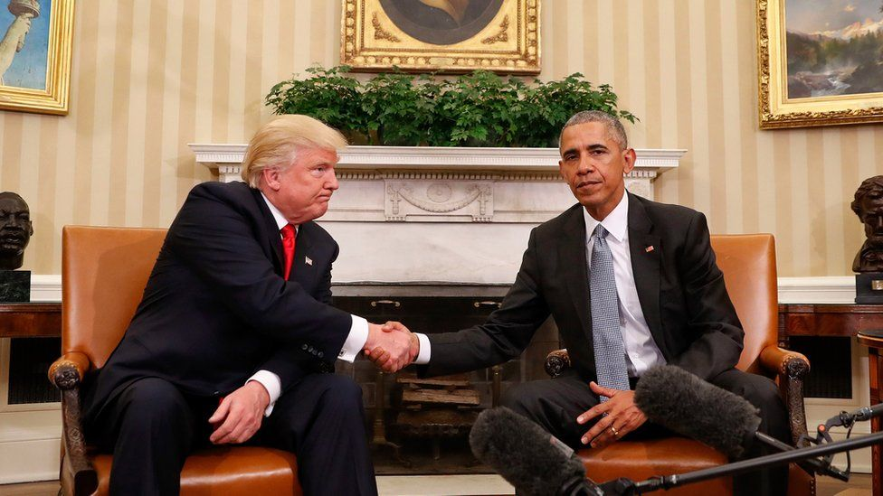 President Barack Obama and President-elect Donald Trump shake hands following their meeting in the Oval Office of the White House in Washington, Thursday, Nov. 10, 2016.