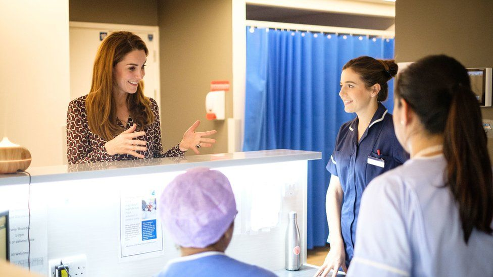 The Duchess of Cambridge with staff at Kingston Hospital's maternity unit