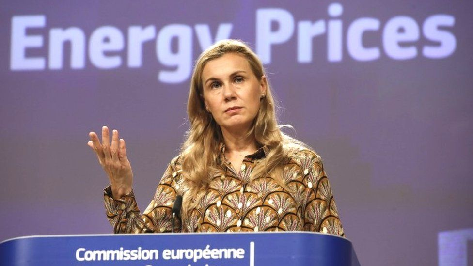 European Commissioner for Energy Kadri Simson gives a press conference on the energy price crisis