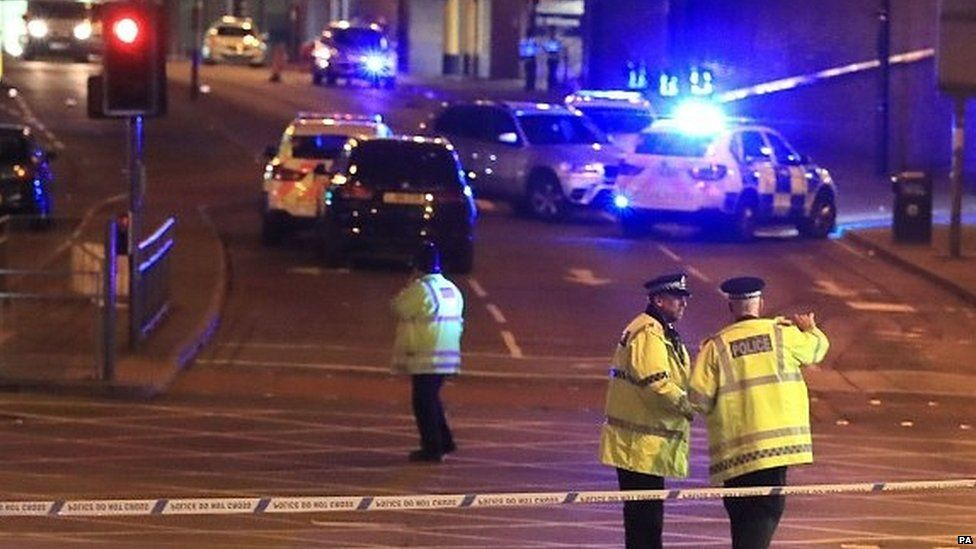 Police cordon in the aftermath of the 2017 Manchester Arena bombing