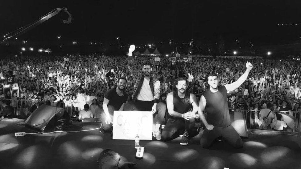 Mashrou' Leila at concert in Cairo on 22 September 2017