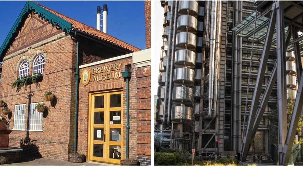 The Greene King Brewery Museum in Bury St Edmunds, UK and the area around the Lloyd's building in London.