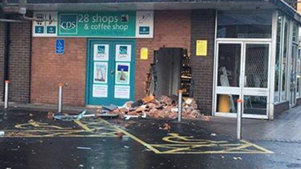 Hole left after cash machine theft