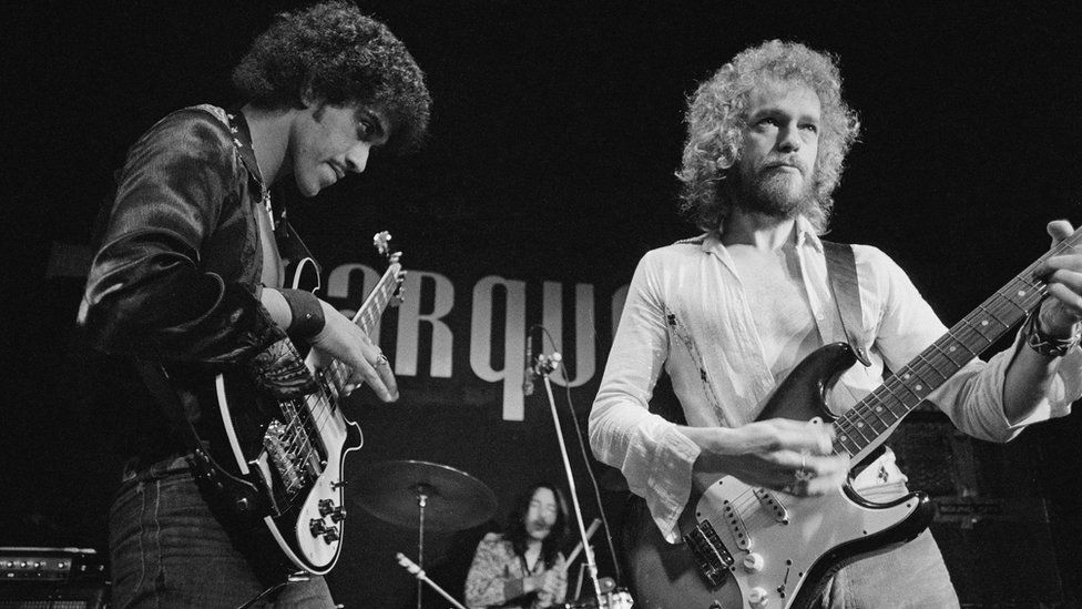Eric Bell playing with Phil Lynott in Thin Lizzy in 1973
