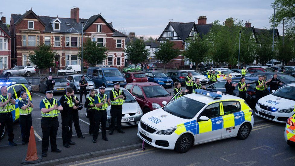 A general view as the police force claps NHS workers clap at the Royal Gwent Hospital