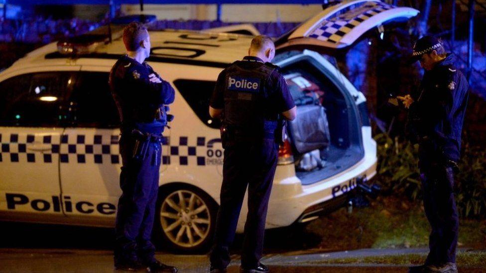 Police outside building in Brighton, Melbourne