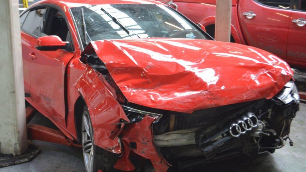 Shaw's wrecked Audi car