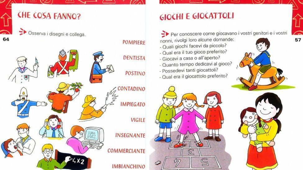 Textbook showing gender stereotypes in Italy