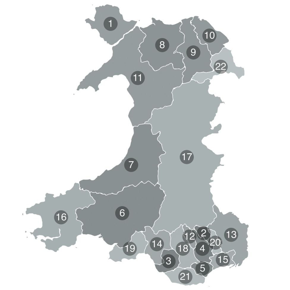 Map of Wales showing the 22 county and county borough councils