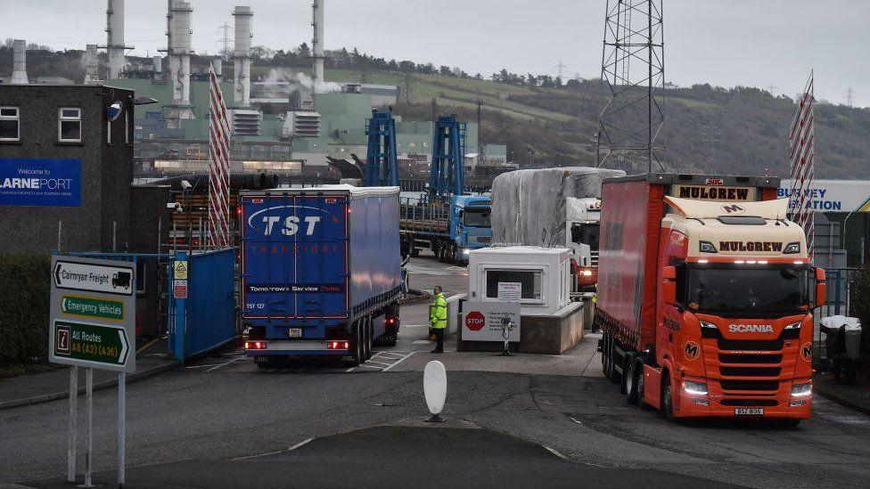 Lorries at Larne port