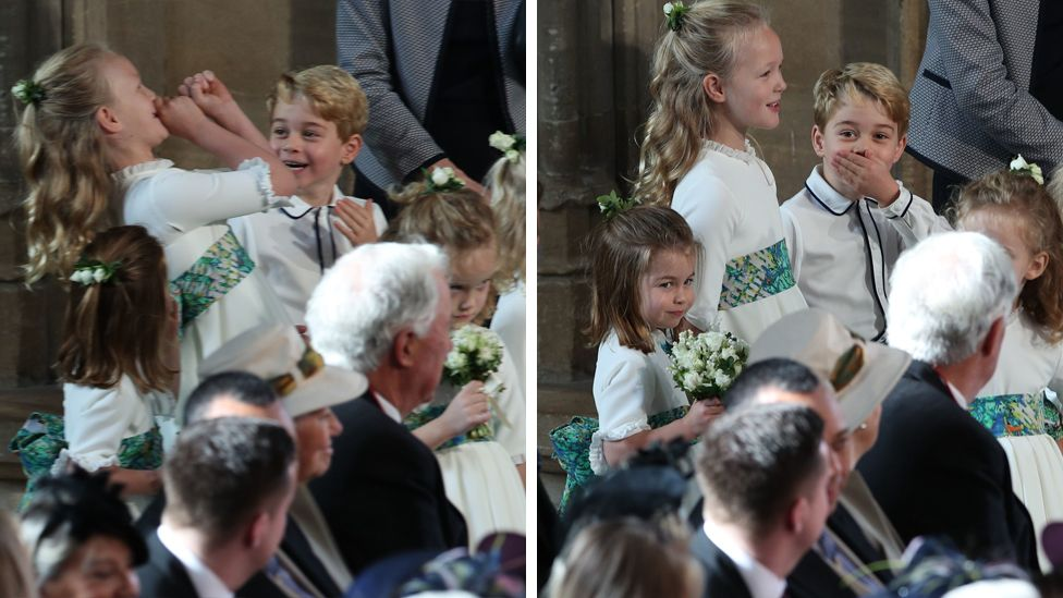 The bridesmaids and page boys, including Princess Charlotte of Cambridge (L), Savannah Phillips (2L) and Prince George of Cambridge (3L) wait to take part in the wedding of Princess Eugenie of York to Jack Brooksbank