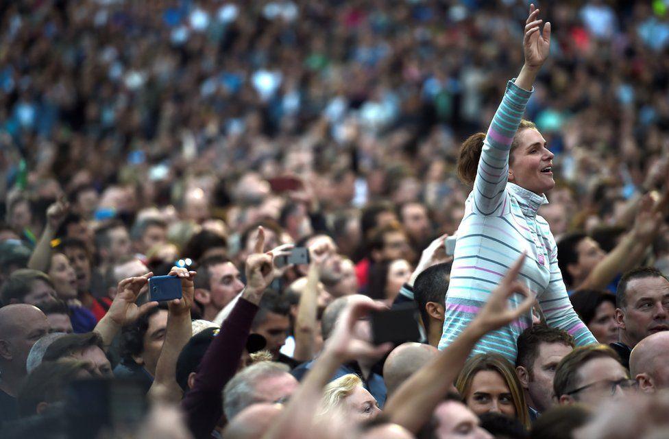 Fans sing as U2 perform at Croke Park