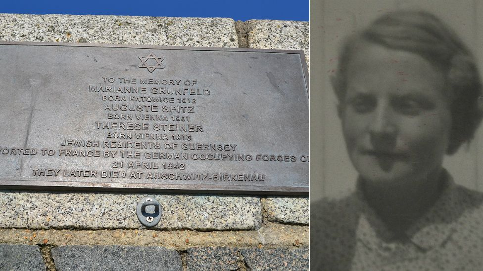 Guernsey Holocaust Memorial Plaque and Marianne Grunfeld's picture from her occupation id