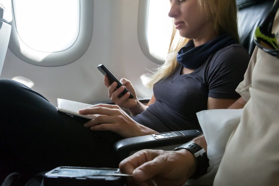 Smartphone on plane