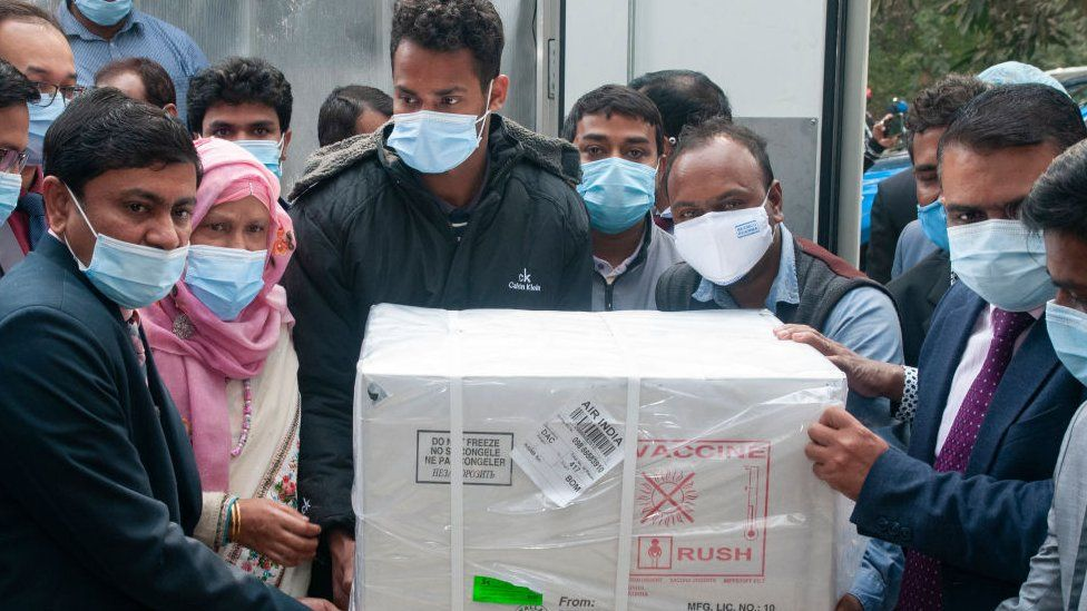 Delivery of AstraZeneca vaccine produced in India, arriving in Bangladsh