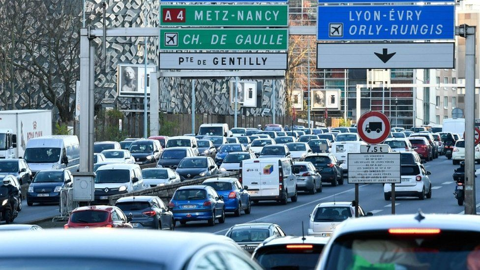Heavy traffic on the ring road of Paris also called the peripherique, on December 20, 2019
