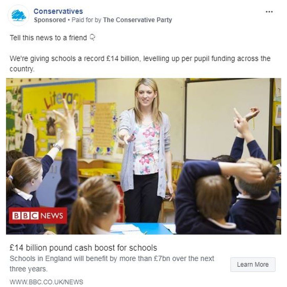 Conservative Party Facebook advert