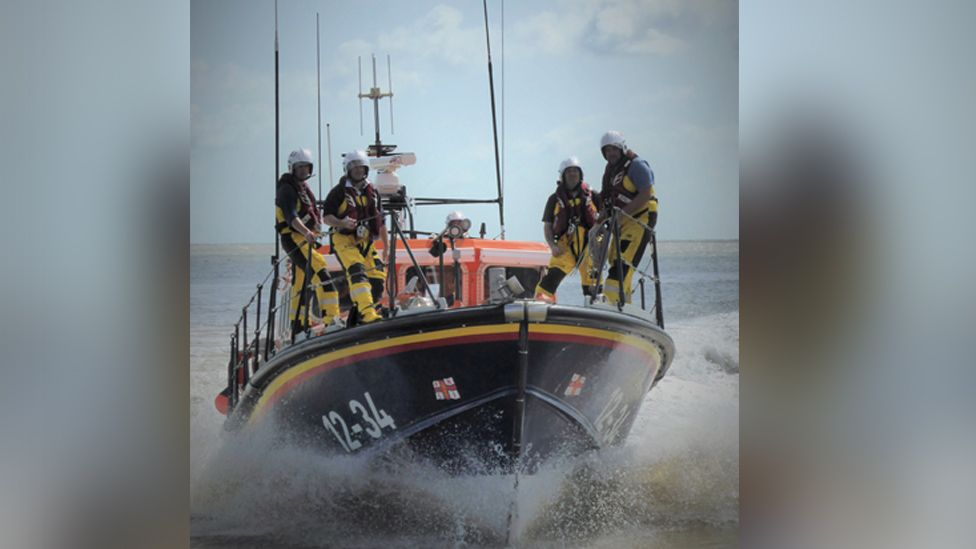 Current Aldeburgh all-weather lifeboat, the Freddie Cooper and crew