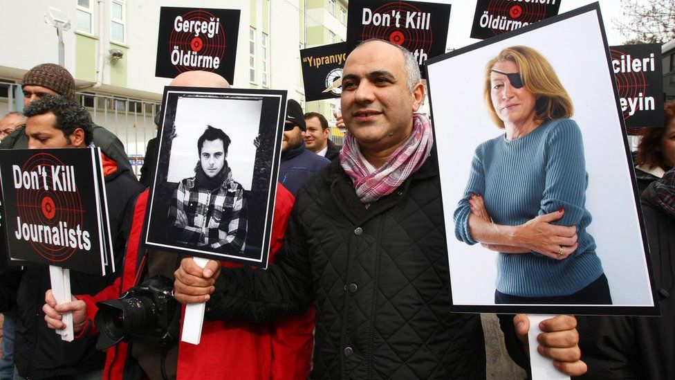 A demonstration denouncing violence against the media and the brutality of President Assad's regime (Ankara, 24 February 2012)