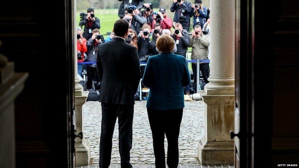 Leo Varadkar and Angela Merkel pose for photos following talks in Dublin