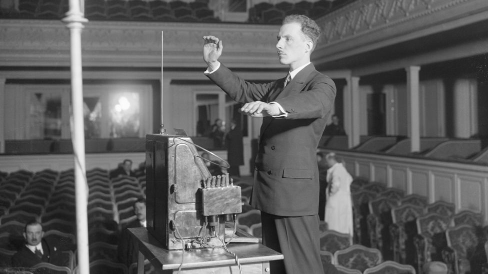 Leon Theremin demonstrating his eponymous musical instrument in Paris in 1927