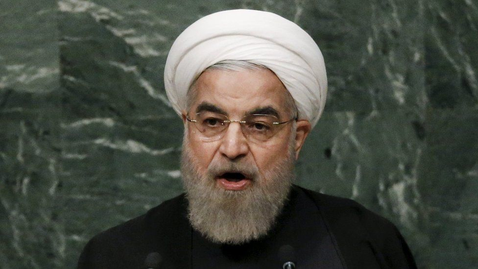 Iranian President Hassan Rouhani addressing the UN