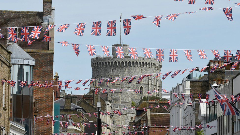 Union Flag bunting adorns the street in front of Windsor Castle