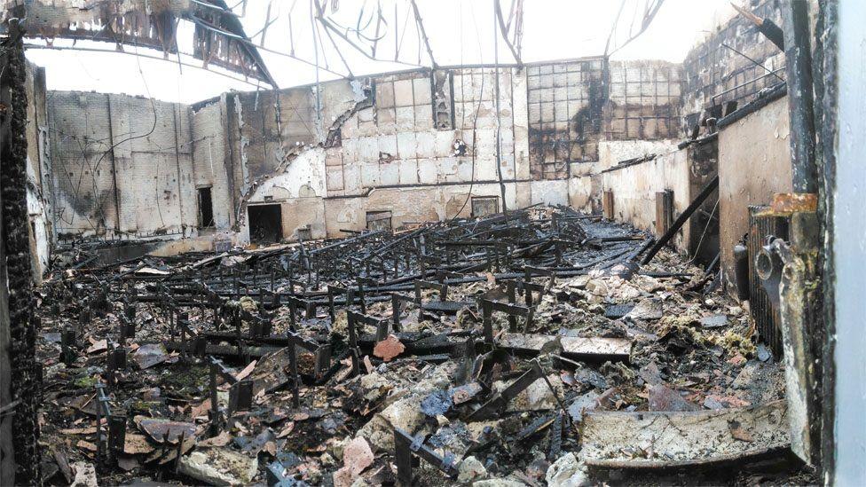 Regent cinema interior after fire