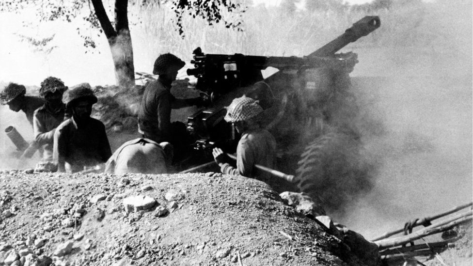 Indian army soldiers fire on Pakistani positions, on December 15, 1971 during the Indo-Pakistani War of 1971.