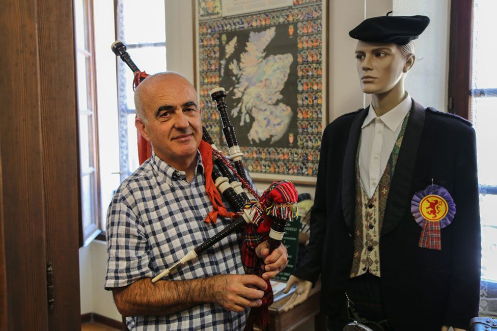 Sylvano Dresti learned to play an Italian version of the bagpipes