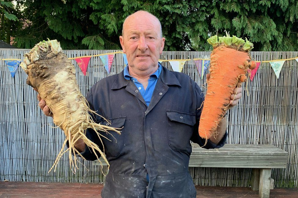 Joe Atherton with his giant vegetables