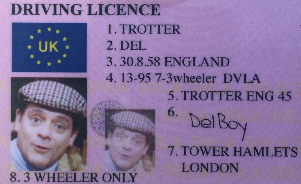 Del Boy driving licence