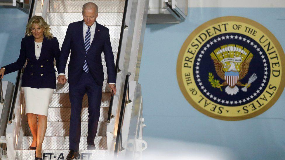 Jill and Joe Biden arrive at Cornwall Airport Newquay