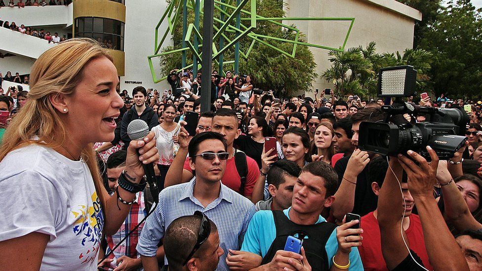Lilian Tintori addresses a rally in the city of Maracaibo.
