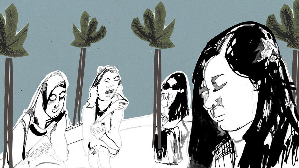 Ilustração de grupo de meninas
